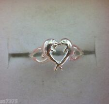 Two dolphins kissing heart shaped toe ring genuine .925 sterling silver