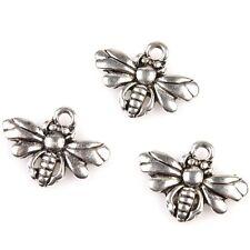 50pcs Wholesale Charms Vintage Silver Tone Mini Bee Alloy Pendant Fit Necklace J