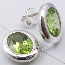 """925 Pure Silver GREEN PERIDOT RETRO STYLE Bestseller Studs Earrings 3/8"""""""