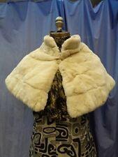 BRAND NEW CREAM SHEARED REX RABBIT FUR STOLE WRAP CAPE WOMEN WOMAN