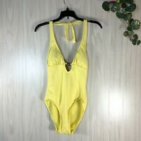 DKNY One Piece Swimsuit Women's 10 Yellow Halter Style Deep V-Neck