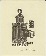 EX-LIBRIS Charles GILBERT gravé sur bois par Jocelyn MERCIER (1926-2006).
