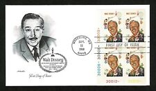 1355 Walt Disney first day cover - Artmaster unaddressed plate No. block of four
