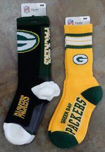2 Pack NFL Green Bay Packers Socks Gift Set Reverse Deuce Jump Key Yellow Medium
