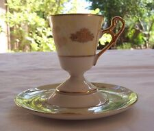 Vintage Royal Halsey Very Fine Stemmed Footed Demitasse Tea Cup & Saucer