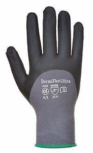 12 Pairs Portwest A352 Dermiflex Ultra Safety Gloves - PU/Nitrile Foam