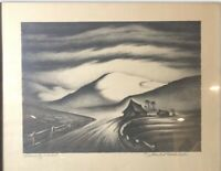 """Signed Saul Rabino, """"Lonely Road"""" Lithograph Print on paper, 1940.  15""""x 13"""""""