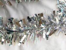 Luxury Thick Silver & Iridescent Christmas Tinsel 2m Garland Tree Decoration