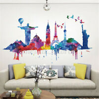 Colorful City Architecture DIY Wall Sticker Decal Removable PVC Home Deco