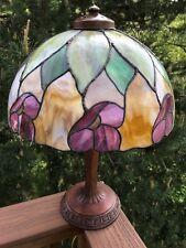 "Antique "" HANDEL TULIP "" Lamp, Gorgeous Tiffany Style Leaded Slag Glass Shade"