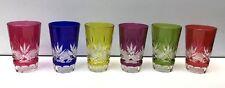 6 GOBELETS à thé doublé de couleurs CRISTAL Val Saint Lambert VSL vers 1908