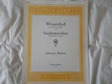 PARTITION POUR CHANT ET PIANO J. BRAHMS WIEGENLIED & SANDMANNSCHEN Ed. SCHOTT