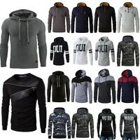 Mens Winter Hooded Sweater Sweatshirt Jacket Coat Slim Hoodie Thermal Pullover
