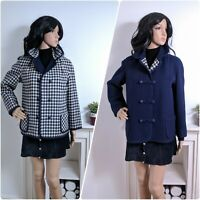 Vintage 60s Wetherall Reversible Wool Checked Navy Jacket Pea Coat M 10 12 14 40