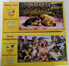 Lot 2 SunsOut 100 Piece Howard Robinson Kevin Walsh Jigsaw Puzzles Kitten Puppy