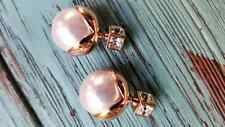 womens Rose Gold Plated Double sided square cubic zircon & pearl earrings