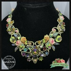 Necklace Michal NEGRIN Swarovski Crystals fabric lovely flowers made in Israel
