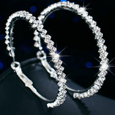 Medium Hoop Earrings Diamante Bridal Round Rhinestone Silver Double 2 Rows Party