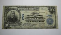 $10 1902 Kewanee Illinois IL National Currency Bank Note Bill! Ch. #1785 FINE!