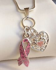 "Silver Pink Ribbon Heart Necklace Plated Race Breast Cancer Awareness 17"" USA"