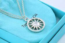 Tiffany & Co Sterling Silver Sun Double Chain Round Charm Pendant Rare Necklace