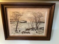 "Artist Gary Miller Signed Print ""A Winter Day"" Framed 11"" By 14"""