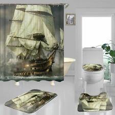 Movie Pirate Ship Shower Curtain Bath Mat Toilet Cover Rug Bathroom Decor