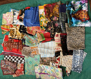 Scarf Lot Of 34 Vintage- Now Differ Sizes, Possible 5 Silk