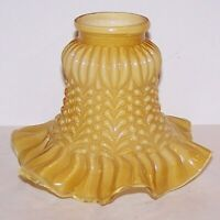 LOVELY VINTAGE AMBER CASED GLASS EMBOSSED RUFFLED LAMP/SCONCE LIGHT SHADE     2