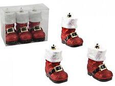 Conjunto de 3 10Cm Deluxe Red Glitter Bota De Santa Navidad árbol de Navidad Decoraciones
