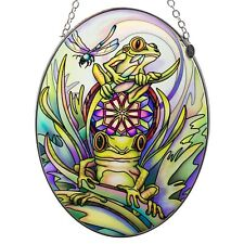 "Frogs With Dragonfly Suncatcher Hand Painted Glass By Amia Studios 7"" x 5"""