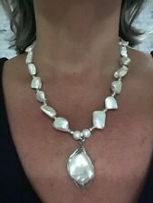 """White Shell baroque Pearl Necklace 18"""" Stainless Steel"""