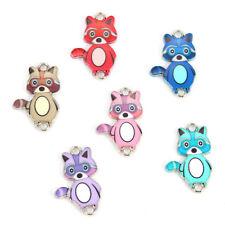 Colorful Enamel Little Bear Charm Connector Pendant DIY Jewelry Accessory 10Pcs