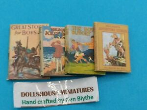 1:12 Scale Books, 4 x Boys Adventure books, Crafted by Ken Blythe