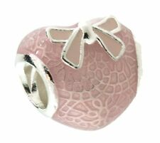 Authentic Pandora Silver Sterling Pink Bow and Lace Heart Enamel Bead 792044ENMX