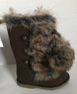 NEW OLD NAVY Toddler Girls Brown Fur Boots Shoes sz 5