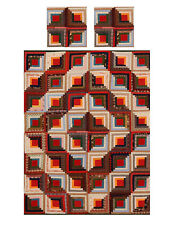 Miniature Dollhouse Log Cabin Quilt Top Computer Printed Fabric & 2 pillows