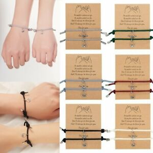2pcs Attract Couples Bracelets Bangle Promise Rope Weaving Magnet Love Jewellery