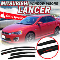 Fit 08-17 Mitsubishi Lancer Window Rain Visors Smoke Shade Slim Guard Deflectors