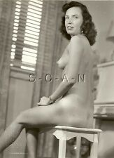 Org Vintage 1940s-60s Nude RP- Mature Brunette Sits on Piano Bench- Suntan- Butt