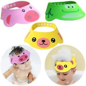 Kids Baby Adjustable Shower Cap Shampoo Bath Bathing Hat Wash Hair Face Shield
