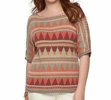 Chaps Womans Aztec Tribal Knit Sweater Short Sleeve Boatneck Plus 1X NEW $76