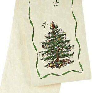 Spode Christms Tree Table Runner 14 x 72 Inches Ivory