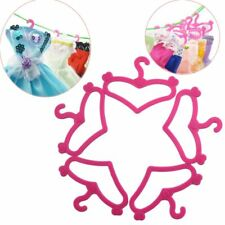 20pcs/lot Plastic Pink Hangers for Barbie Doll Dress Clothes Accessories Mixed