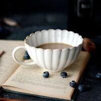 Retro Ceramic Coffee Mug Milk Tea Cup Luxury Dish Large Capacity Petal Serveware