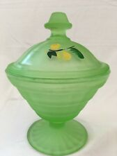 "Vintage Frosted Green Footed Candy Dish With Cover Hand Painted 5"" Parfait Cup"