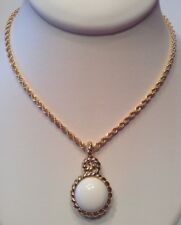 Vintage Signed MONET Jewelry Necklace White, Navy & 22k Gold Plated Reversible