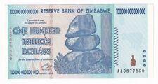 Zimbabwe 100 Trillion Dollars 2008 Series AA P-91 Original Banknote Currency UNC