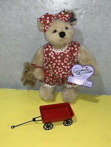 """9"""" Annette Funicello Collectible Bear Co. Jointed Plush w/ Baby Bear & Wagon"""