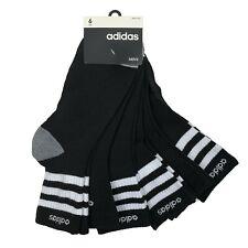adidas 6 Pair Men's High Quarter Socks Aeroready Shoe Size 6-12 Black Socks